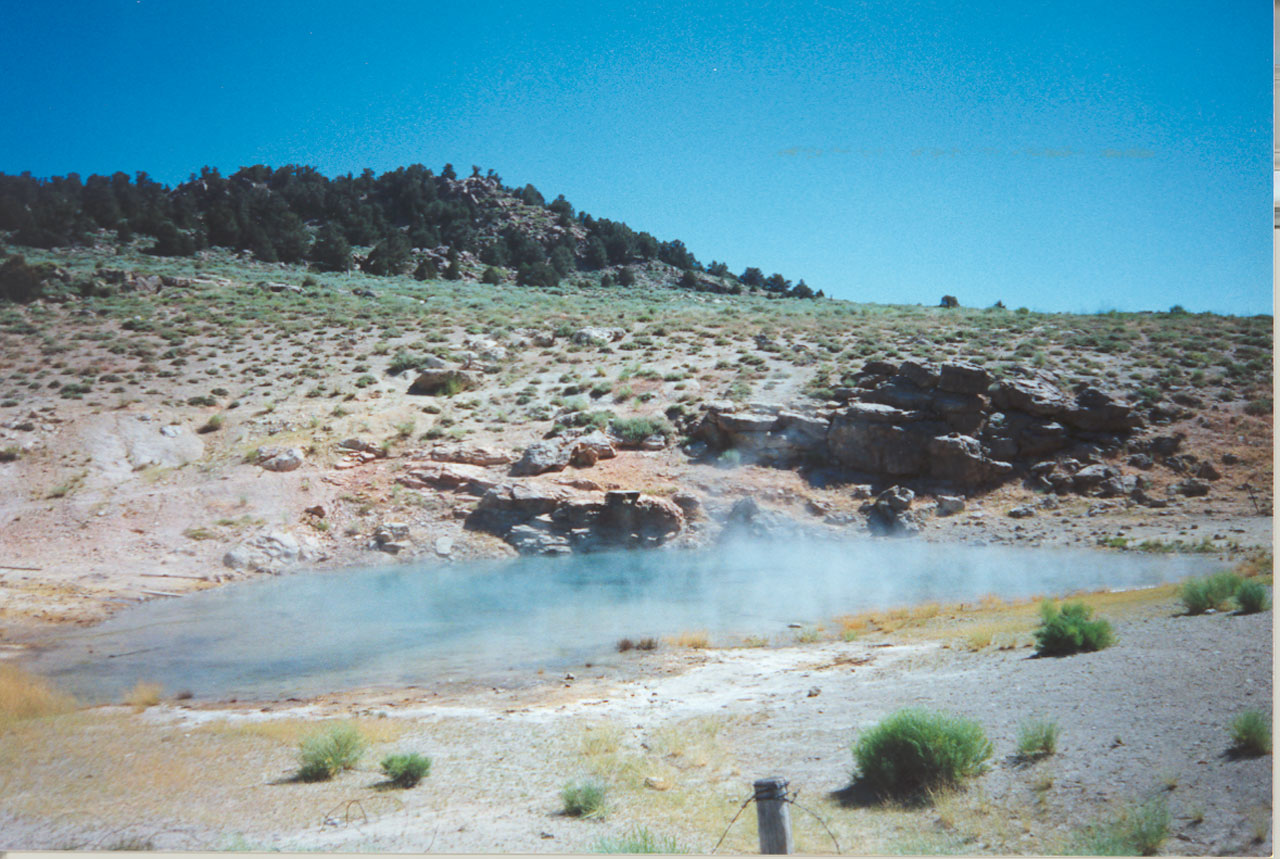 Hot Spring near the Town of Mammoth Lakes, California. Photo by Jack Truschel, Geothermal District Engineer, Division of Oil, Gas, & Geothermal Resources, California Departmant of Conservation